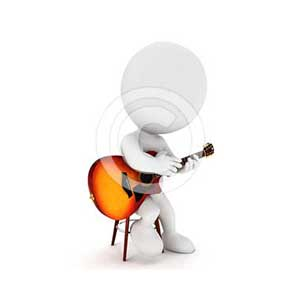 3d white people playing fingerstyle guitar