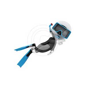 3d white people scuba diver