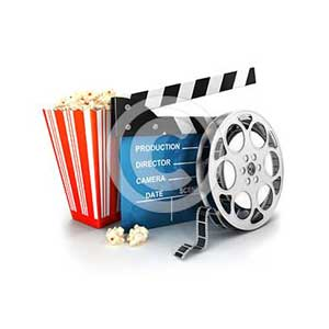 3d cinema clapper, film reel and popcorn