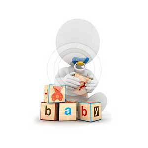 3d white people baby playing with blocks