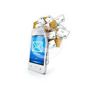 3d smartphone with cloud of messages