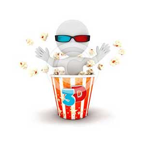 3d white people comes out of popcorn