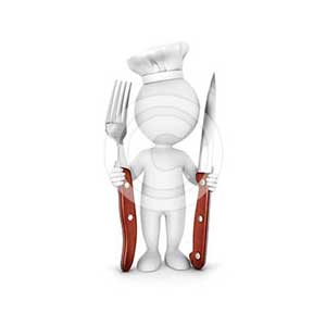 3d white people chef with fork and knife