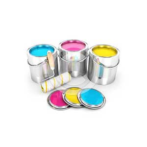 3d paint cans and roller brush