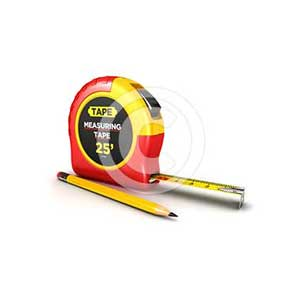 3d measuring tape and a pencil