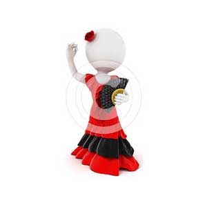 3d white people flamenco dancer