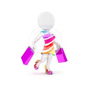 3d white people fashion woman with shopping bags