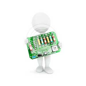 3d white people electronic circuit board