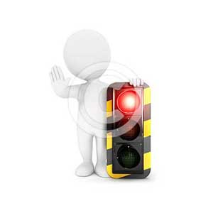 3d white people traffic light on red