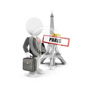 3d white people businessman in Paris